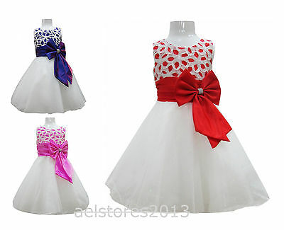Flower Baby Girls Party Bridesmaid Christening Pageant Dress Age 0 - 24 months