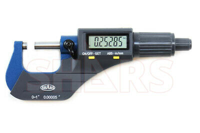 "SHARS 0-1"" 0.00005"" Digital Electronic Outside Micrometer Carbide Tip NEW"
