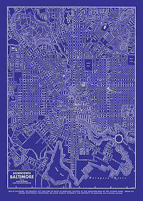 Vintage Map of Baltimore 20x30 Blueprint