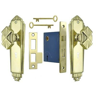 Art Deco Antique Replica Doorplate Set w/ Locking Keyed Mortise Lock (L51MKKSET)