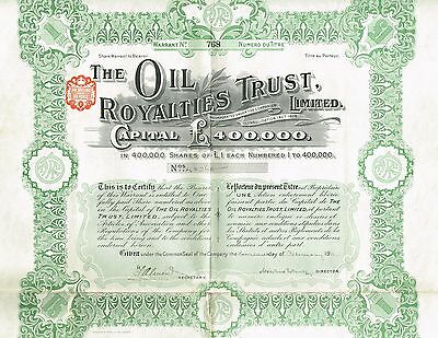 ENGLAND OIL ROYALTIES TRUST stock certificate 1911 WITH COUPONS 1SH