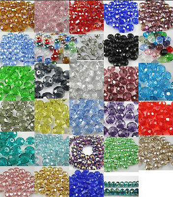 DIY Jewelry Faceted 100pcs / 30pcs Rondelle crystal #5040 3x4mm / 6x 8mm Beads