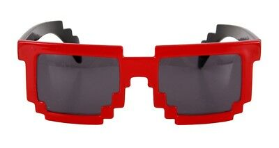 Pixel 8 Bit RED Glasses Adult Costume Accessory NEW