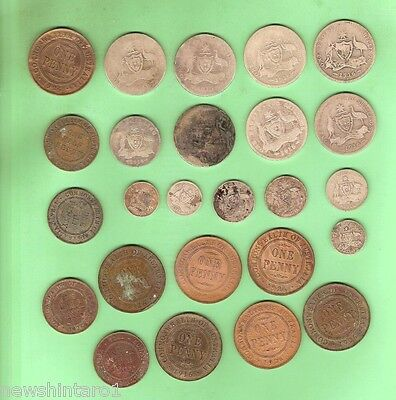 #c17.  Lot Of 25  Very  Low Grade Wwi  1916 Australian  Coins For A Display