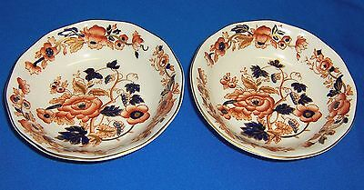 "Set of Two Crown Staffordshire China Bowls Very Nice 5"" Cobalt Coral Gold"