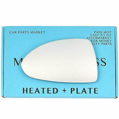 Left side Flat Wing mirror glass for Vauxhall Corsa D 2006-2014 heated + plate