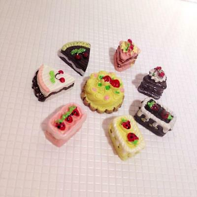 8pcs Miniature Chocolate/Strawberry /Cherry Cake Dolls House Miniature Food 1/12