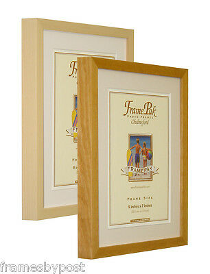Honey & Pine WOODEN Photo Picture Frames with Black White & Ivory Mounts RIO
