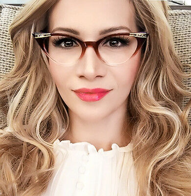 Cat Eye Amber Brown Gradient Clear Ombre Crystals Fashion Eyeglasses Frames 1317