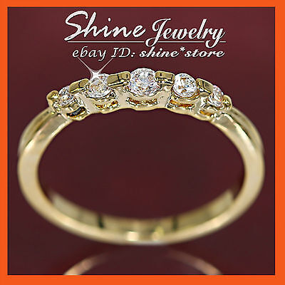 9K Gold Plated R55 Created Diamond Eternity Wedding Womens Girls Solid Band Ring
