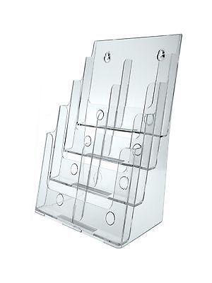 "4 Tier Brochure Holder for 8.5""w Literature Pamphlet Clear Acrylic  Wall Table"