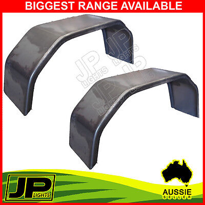 """Trailer Steel Mudguard Smooth Pair 4 Fold 10"""" Wide For 13""""/14"""" Wheel Guards Boat"""