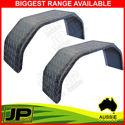 """Trailer Steel Mudguard Check Plate Pair 4 Fold 9"""" Wide For 13""""/14"""" Wheel Guards"""