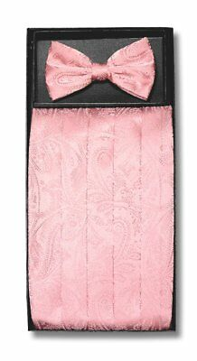 Cumberbund & BowTie PINK Color PAISLEY Design Men's Cummerbund Bow Tie Set
