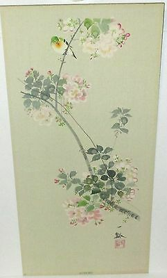 """Japanese """"autuman"""" Bird On A Pink Floral Tree Watercolor Painting Signed"""