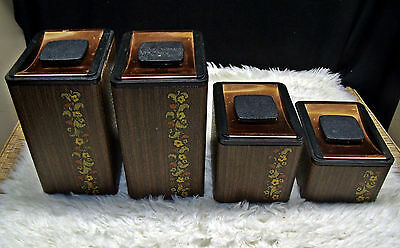 Vintage Kromex Aluminum Copper Wood Grain Kitchen Canister Set Floral Flowers