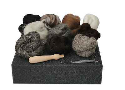 Heidifeathers® High Quality Needle Felting Starter Kit - 'Natural Wool' + Handle