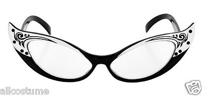 a4d225545d Vintage Look Cat Eye Glasses Black White 1950s Rhinestone Glasses 323332