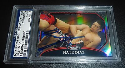Nate Diaz Signed UFC 2011 Topps Finest Refractor Card #37 PSA/DNA COA Autograph