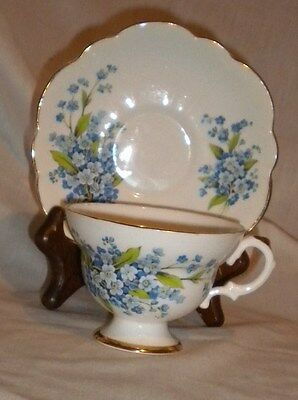 Royal Imperial Blue Forget-Me-Nots Tea Cup & Saucer Made In England