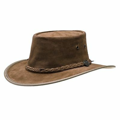 Barmah Foldaway / Squashy Hickory Suede Leather Waterproof Australian Bush Hat