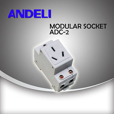 Andeli brand Din Rail mounted 10A and 16A GPO 3 pin modular sockets
