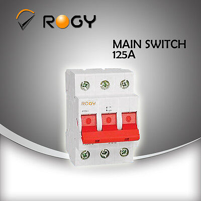 3 pole 3 phase 125A rated mains switch circuit breaker