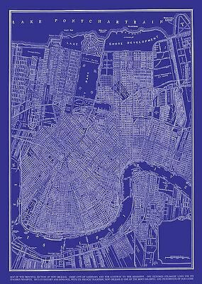 Vintage Map of New Orleans 20x30 Blueprint