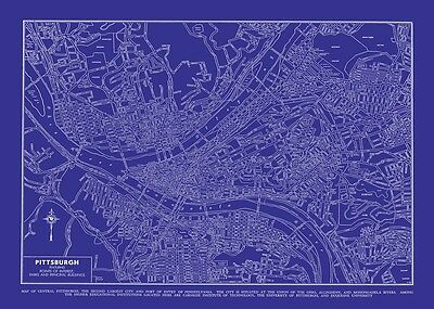 Vintage Map of Pittsburgh 20x30 Blueprint