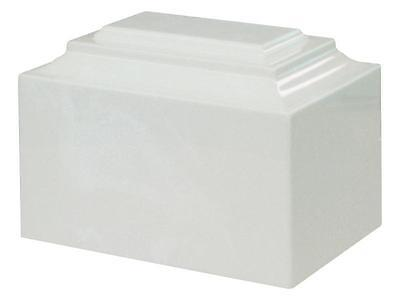 Adult Cremation Urn - White on White Marble Color