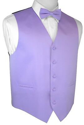 Italian Design. Lavender Satin Tuxedo Vest & Bow-Tie Set. Wedding, Formal Prom