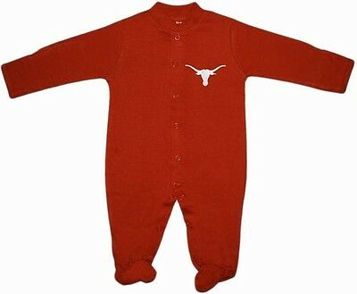 UT Texas Longhorns Long Sleeve Footed Baby Romper w/ Snaps Infant Newborn New