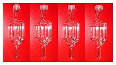 Airlocks 4 S Double Bubble Twin Airlock For Beer Wine Moonshine Fermentation New