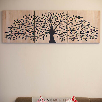 TREE OF LIFE Wooden Timber Carved Wall Art BLCK Mangowood Carving Panel Triptych