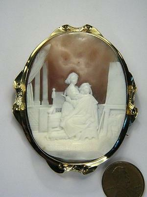 ANTIQUE 15K GOLD HAND CARVED SHELL CAMEO RAPHAEL PAINTING LA FORNARINA c1860