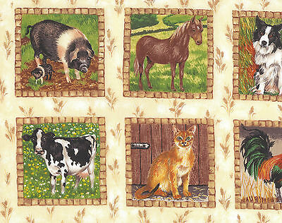 Meadow Farm Cows Pigs Horses Rooster Sheep Tractor Makower Quilt Fabric FQ NEW