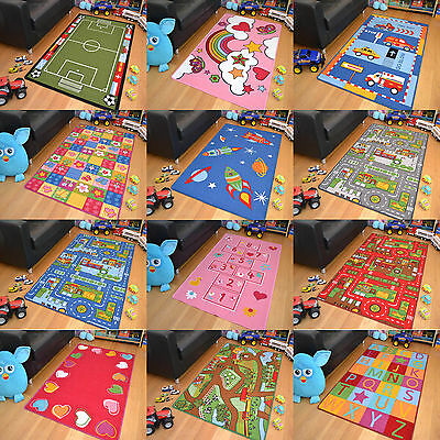 New Bright Machine Washable Non Slip Boys Girls Childrens Rugs Mats Kids Cheap