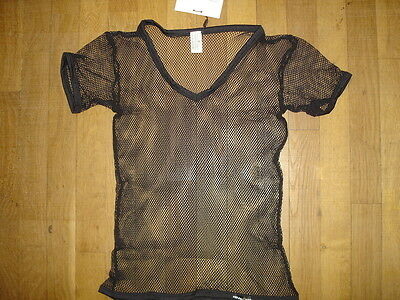 25621673e516 T-SHIRT ROUGE TAILLE L résille transparent sheer sexy gay Ref M09 ...