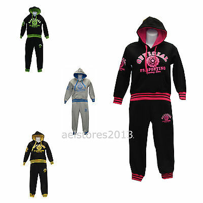 Girls Tracksuit Age 3 - 14 years Black Pink Yellow Hooded Tops Jogging Bottoms