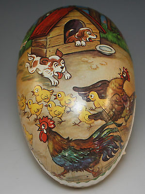 VINTAGE E.GERMANY PAPER MACHE LARGE EASTER EGG CANDY CONTAINER CHICKS, DOGS