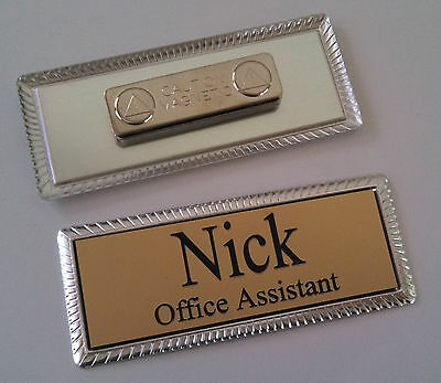 "GOLD Engraved Name Tag on SILVER metal frame 1""x3"" w/ magnetic badge attachment"