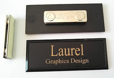 Employee Name Tags Black on Black Frame w/ magnetic (magnet) attachment 1x3