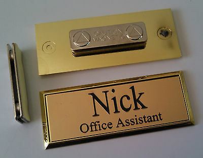 Employee Name Tags Gold on Gold Frame w/ magnetic (magnet) attachment 1x3