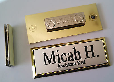 Employee Name Tags Silver on Gold Frame w/ magnetic (magnet) attachment 1x3