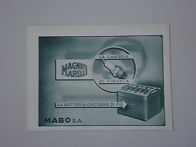 advertising Pubblicità 1946 CANDELE E BATTERIE MAGNETI MARELLI
