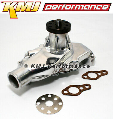 "Small Block Chevy 350 High Volume Short Aluminum Water Pump Polished 5/8"" Pilot"