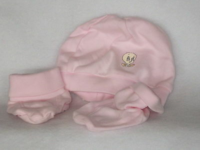 Looney Tunes Tweety baby pink hat and booties embroidered hat 100% cotton  SEE