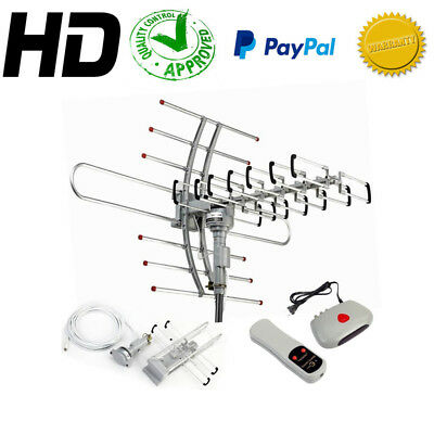 150 MILES HDTV OUTDOOR AMPLIFIED ANTENNA HD TV 38dB ROTOR REMOTE 360° UHF/VHF/FM