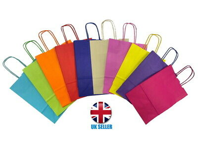Bright Paper Party Bags - Gift Bag With Handles - Recyclable Birthday Loot Bag *