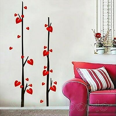 Red Flowers Leaves Set Room Wall Mural Art Stickers Decal Decoration Home Decor